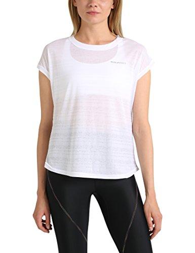 Ultrasport Endurance T-Shirt Skegness für Damen Top mit Rundhalsausschnitt und Ringelmuster aus Jersey, Damen Basic, Weiß, 36