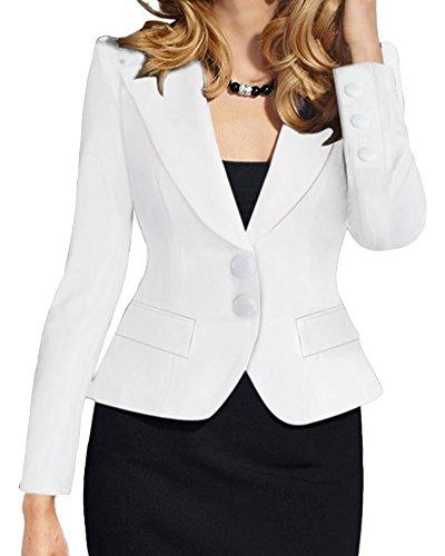 Donna taglie forti maniche lunghe ol ufficio tailleur elegante corto giacche da abito e blazer con due bottoni bianca m