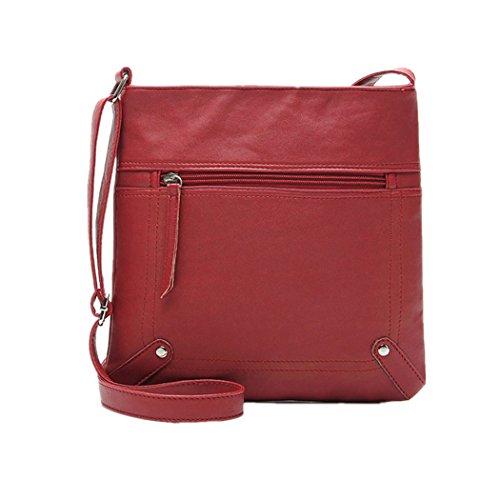 TIFIY Unisex Jahrgang Retro Reißverschluss Schultertasche Handtasche Messenger Bag (Rot) (Messenger Rote Bag Retro)