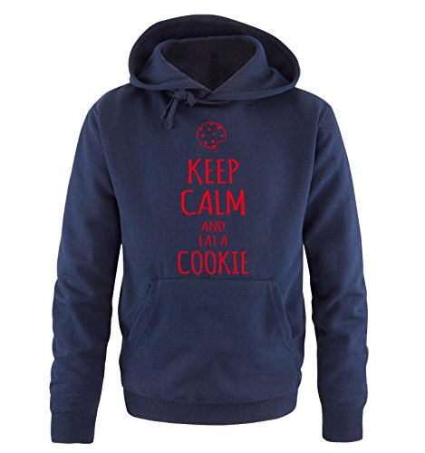 Comedy Shirts - KEEP CALM and eat a COOKIE - Uomo Hoodie cappuccio sweater - taglia S-XXL different colors blu navy / rosso