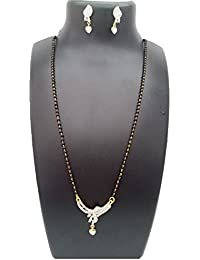 ShreeVari Fashion Gold Plated Alloy With Pearls Black And White Mangalsutra Necklace With Chain And Earrings For...