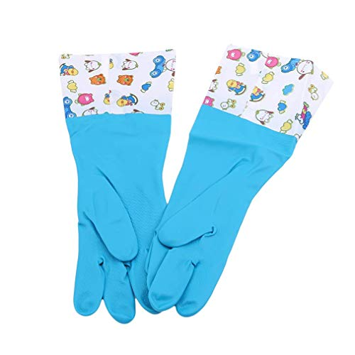 lität Geschirrhandschuhe wasserdichte Anti-Fouling Beam Mouth Rubber Full Palm Reinigungshandschuhe, blau ()