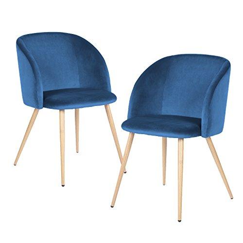 EGGREE 2er Set Vintager Retro Sessel Polstersessel Samt Lounge Sessel Clubsessel Fernsehsessel blau