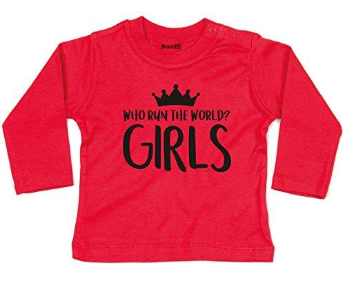 Who Run the World, Langarm-Baby-T-shirt, Rot/Schwarz, 6-12 Monate
