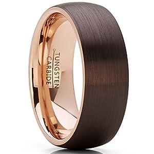 Metal Masters Co.® 8MM Herren und Damen braun und rose ton Wolframcarbid Ring Verlobungsringe Trauringe Hochzeitsband Bequemlichkeit Passen