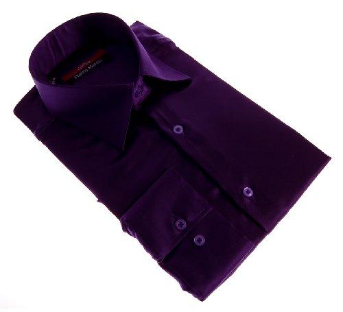 Camicia da uomo brillante slim fit aderente a maniche lunghe nero bianco blu grigio rosa oro giallo argento turchese beige marrone ciano viola violetto verde Viola