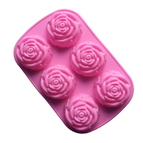 FantasyDay® 6er Silikon Backform / Muffinform für Muffins, Cupcakes, Kuchen, Pudding, Eiswürfel und Gelee - 6 Rosenblüten