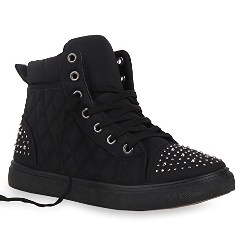Damen High Top Sneakers Strass Zipper Sportschuhe Schwarz