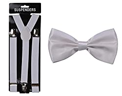 Tiekart cool combos white plain solids bow tie+suspenders
