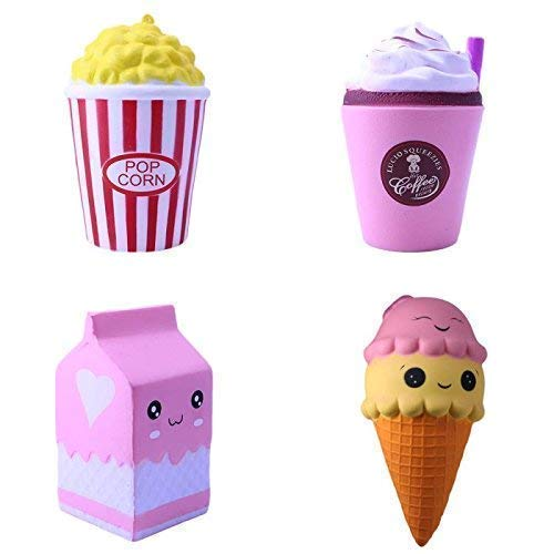 Ecolibri Premium Squishy Spielzeug Figuren - Anti Stress Set Süße Kawaii Schaumfiguren - 4 Teiliges Set in Verschiedenen Farben und Designs - Hochwertig mit duftenden Aromen.