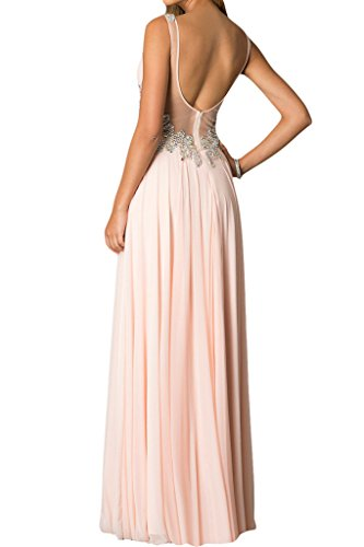 ivyd ressing Femme zaertlich V de la découpe A ligne rueckenfrei Party robe mousseline Prom robe robe du soir Rose