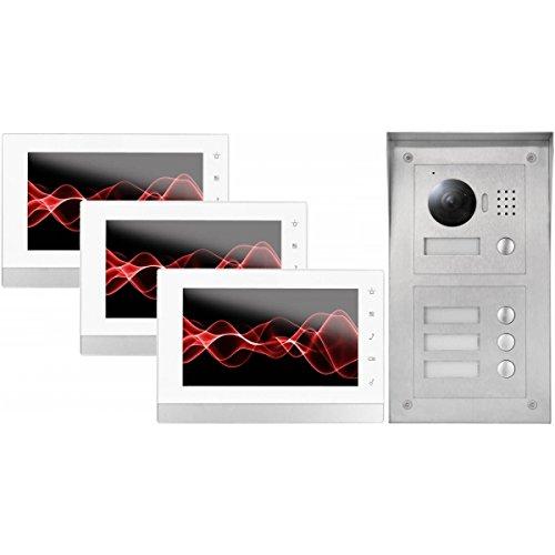 """IP Video Türsprechanlage 3x 7\"""" Innen- und 3-Fam. Außenstation, HD Kamera"""