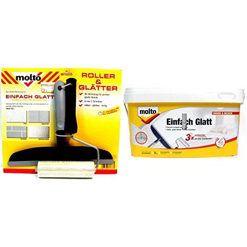 Molto Einfach glatt Spachtelmasse Fertigspachtel für innen & Werkzeug Roller + Glätter Set für perfekt glatte Wände