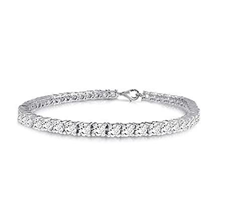 Velini, 925 sterling silver brilliant cut Round 3mm white CZ Cubic Zirconia stones 4 prongs Tennis bracelet, available in different