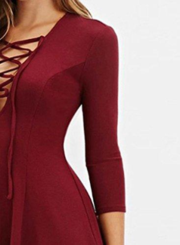Azbro Women's Deep V Drawstring Solid Color Dress Burgundy