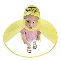 Wawer Children Yellow Duck Raincoat Umbrella Foldable Cute Animal UFO Rain Hat Cape,Outdoor Portable Magical Hands Raincoat for Kids Boys Girls,S-M