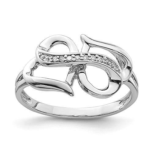 Ring mit Unendlichkeitssymbol Sterling-Silber 925 Diamant Größe 7 (0,03 Karat)