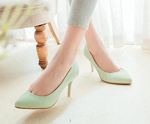 OL Pumpen Büros D'orsay Scarpin Stiletto Mid Heel Mandel geformte Zehe Frauen Casual Party Elegante Schuhe Europa Größe innerhalb Biger Größe 34-43 Green