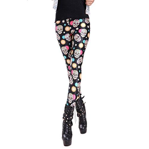 Sexy leggings elásticos con motivo impreso cráneo standard S/M