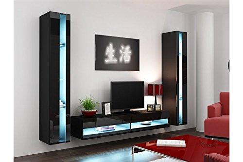 Chloe Design Ensemble Meuble TV Mural OLERMO - Noir