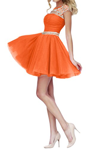 Missdressy Damen Partykleid Abendkleid Falte Perlenstickerei Tuell Kurz Orange