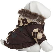 Mascota vida Patterned chaqueta con capucha desmontable–marrón–Tamaño grande
