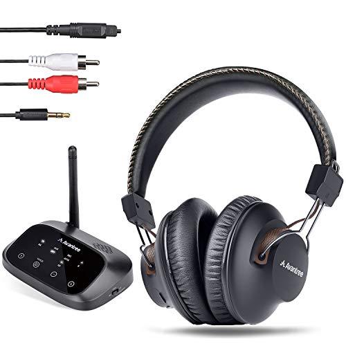 Avantree HT5009 Hohe Reichweite Kabellose Funkkopfhörer für Fernseher mit Bluetooth Transmitter (OPTISCH RCA Aux), TV Kopfhörer Drahtlos, Plug & Play, Keine Verzögerungen mehr, 40 Std. Akku
