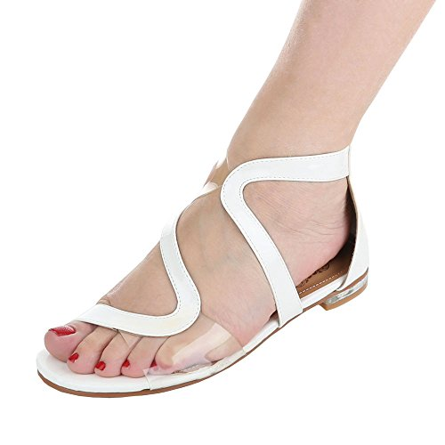 Komfortsandalen Damen-Schuhe Römersandalen Blockabsatz Moderne Reißverschluss Ital-Design Sandalen / Sandaletten Weiß, Gr 36, 36-M41586F-