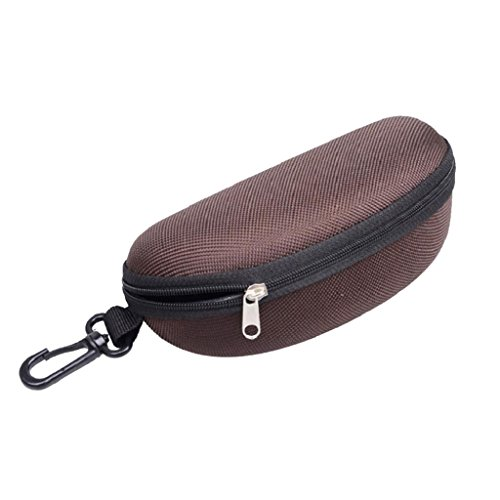 Senoow Portable Sonnenbrille Fall, Reißverschluss Brillen Muschel Hart Protektor Mit Clip Für Frauen Männer (Kaffee)
