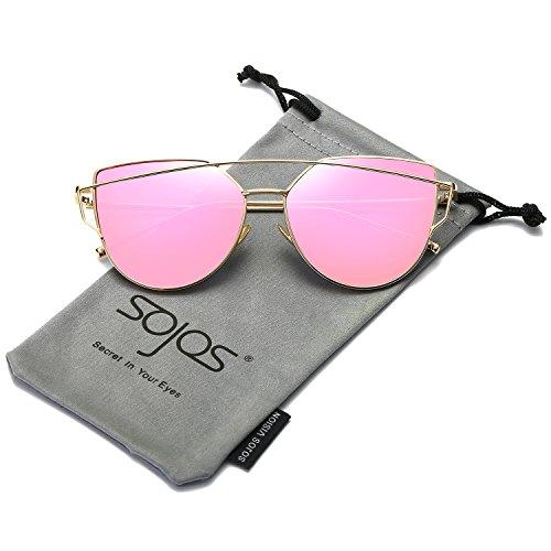 SOJOS Katzenauge Metall Rand Rahmen Damen Frau Mode Sonnenbrille Verspiegelt Linse Women Sunglasses SJ1001 mit Gold Rahmen/Roserot Linse (Metall Damen)