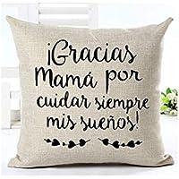 Cojín Mamá personalizado Gracias a Mamá. 31 x 31 cm. Regalo/Bodas/San Valentín/Cumpleaños/Ella/Aniversario
