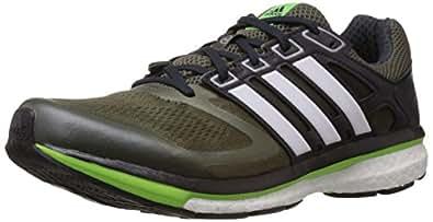 adidas Men's SUPERNOVA GLIDE 6 M Dark Green, White and Neon Green Mesh Running Shoes - 9 UK