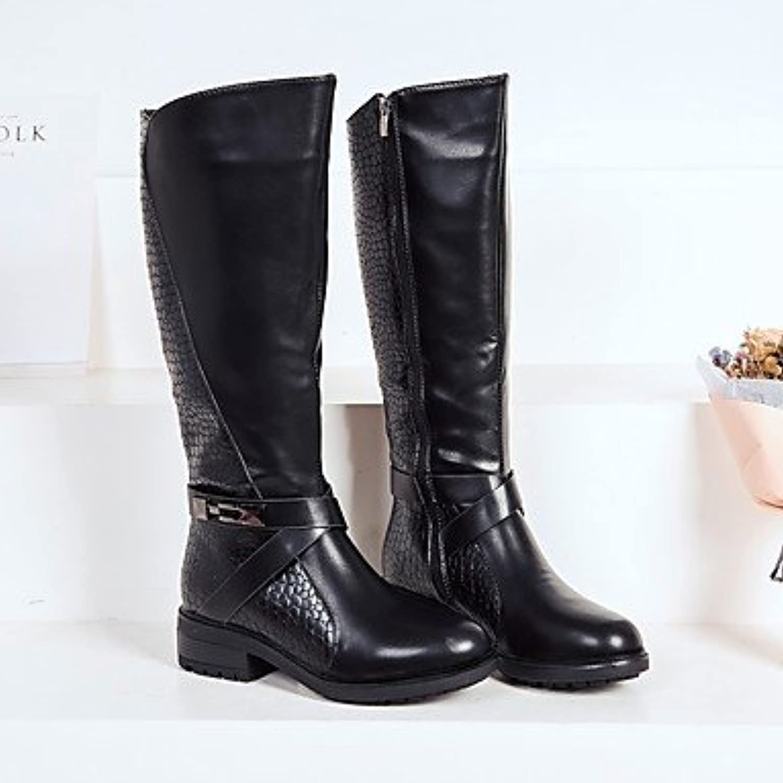 RTRY Zapatos De Mujer Invierno Pu Microfibra Sintético Forro Pelusas Moda Botas Botas Botas De Combate Puntera...