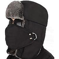 Gorro de invierno unisex de estilo clásico para la nieve, con solapas para las orejas, protección de la barbilla y cubierta a prueba de viento, negro
