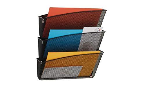 Alba MESHFILE M Dreiteiliges Wandbehälter Set, Stapelbare Mesh-Metall-Ablage
