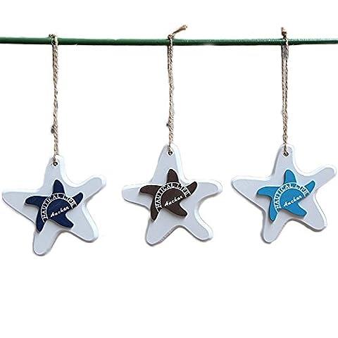 6×Chytaii Starfish Anhänger Holz Seestern Kleine Anhänger Mittelmeer Art Deko Weiß 10.5CM