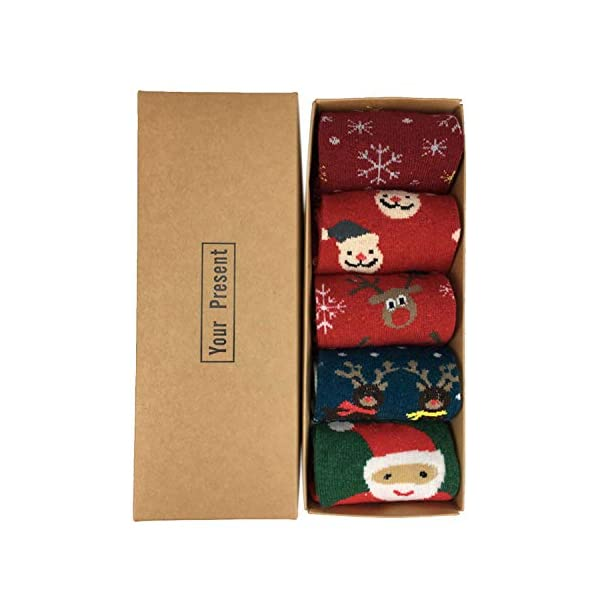 LIKERAINY Ragazze Donna Calzini Lana di Natale Caldo Inverno Confortevole Babbo Natale e Alce 5 Paia 2 spesavip