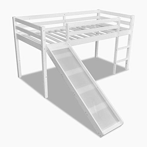 vidaXL Cama Alta para Niños con Tobogán y Escalera Madera de Pino Color Blanca