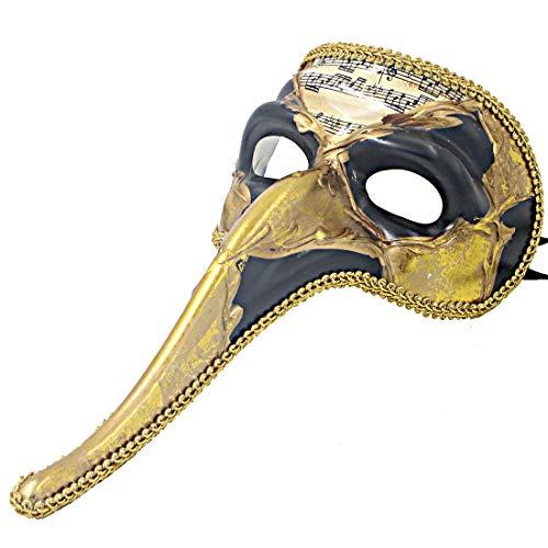 Hophen Venezianische Maske mit langer Nase, Pest Doktor für Männer, Wanddekoration, Art Collection, Schwarz/goldfarben
