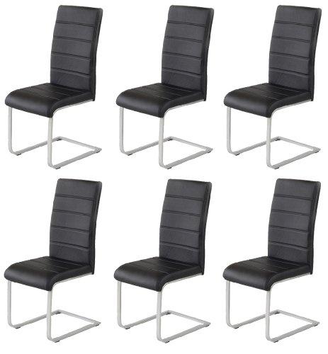 Produktabbildung von 6 x Design Stuhl Freischwinger Piet 30 Kunstleder schwarz Esszimmerstuhl