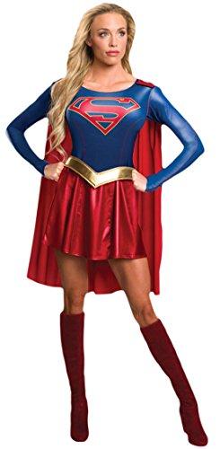 erdbeerloft - Damen Karneval Kostüm Kleid Supergirl , Mehrfarbig, Größe (Supergirl Schwarz Kostüm Stiefel)