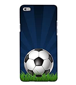 PrintHaat 3D Hard Polycarbonate Designer Back Case Cover for Micromax Canvas Sliver 5 Q450 :: Silver Q450 (football lover :: soccer player :: football in the ground :: football in the net :: football illusion :: in blue, black, green, white and brown)