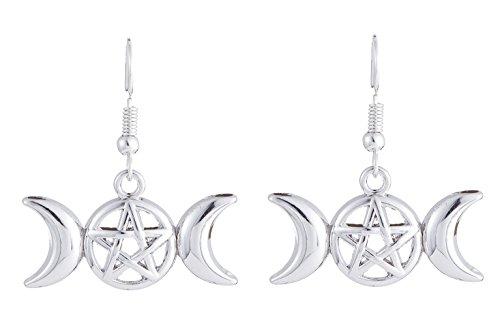 Lemegeton Vintage Triple Moon Pentagram Amulet Charm Drop Earrings Pagan Jewelry for Women
