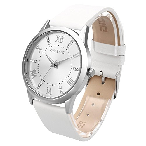 Dictac-Wristwatch-Lady-Analg-Quartz-White-Leather-Strap-98ft-Waterproof-Classic-Round-Watch