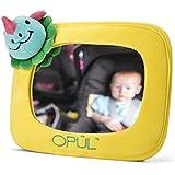 Espejo de Coche para Bebés, Espejo Retrovisor Ajustable, Marco Amarillo de Felpa, Adaptable a la Mayoría de los Vehículos- Espejo de Vigilancia de Opul