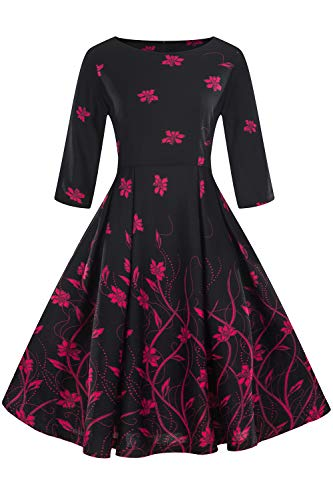 MisShow Damen 60er Jahre Kleid Vintage Abendkleid Partykleid geblümt kurz Schwarz XXXL