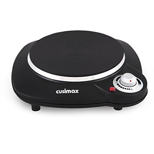 Cusimax 1000 Watt Einzel-Kochplatte mit 18.8cm, Gusseisenplatte, Automatische Thermostatregelung Überhitzungsschutz, Schwarz , CMHP-B112