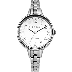 Fiorelli Women's Quartz Watch with Silver Dial Analogue Display and Silver Bracelet FO012SM