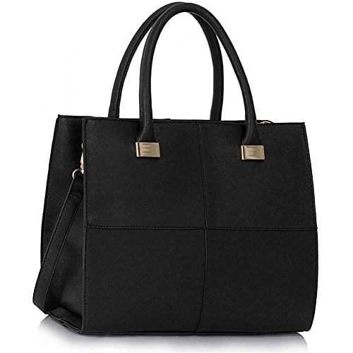 LeahWard® Genuine Simili Cuir Tote Sac Betoulière Sac Femme Gret Styliste Gret Check Sacs 153 Grete Taille Noir