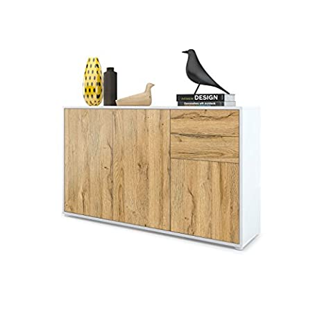 Kommode Sideboard Ben V3, Korpus in Weiß matt / Fronten in Eiche Nature